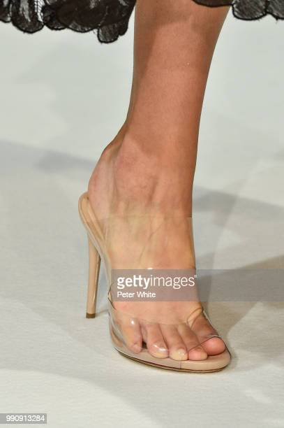 A model shoe detail walks the runway during the Alexis Mabille Haute Couture Fall Winter 2018/2019 show as part of Paris Fashion Week on July 3 2018...
