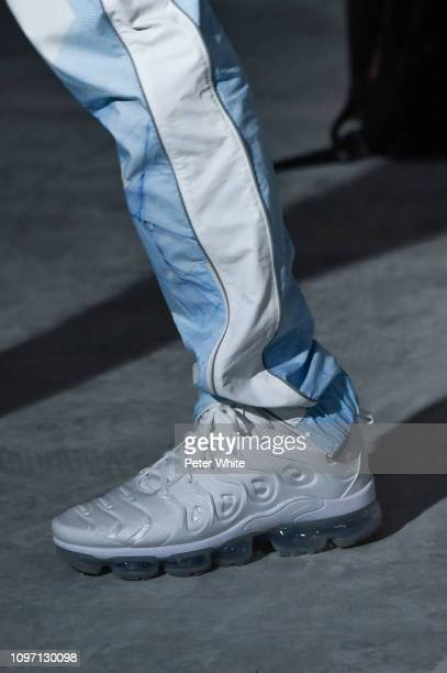 A model shoe detail walks the runway during the Andrea Crews Menswear Fall/Winter 20192020 show as part of Paris Fashion Week on January 19 2019 in...
