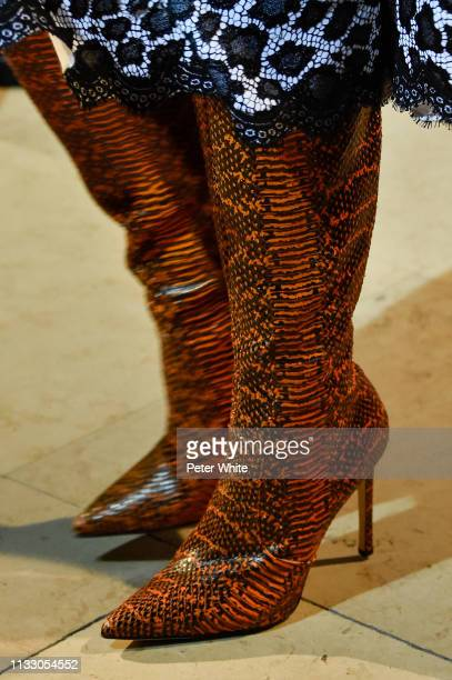 A model shoe detail walks the runway during the Andrew GN show as part of the Paris Fashion Week Womenswear Fall/Winter 2019/2020 on March 01 2019 in...