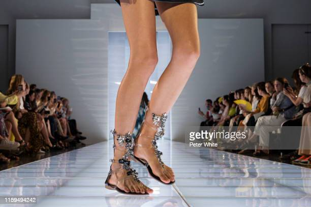 A model shoe detail walks the runway during the Azzaro Couture Haute Couture Fall/Winter 2019 2020 show as part of Paris Fashion Week on July 01 2019...