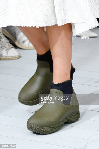 A model shoe detail walks the runway during the Celine show as part of the Paris Fashion Week Womenswear Spring/Summer 2018 on October 1 2017 in...