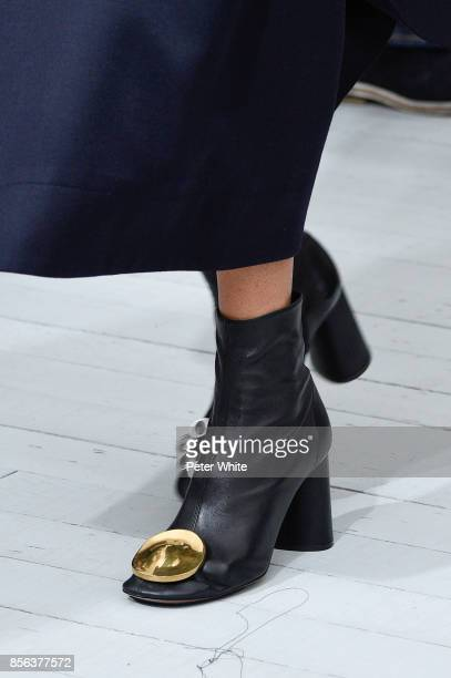 Model, shoe detail, walks the runway during the Celine show as part of the Paris Fashion Week Womenswear Spring/Summer 2018 on October 1, 2017 in...