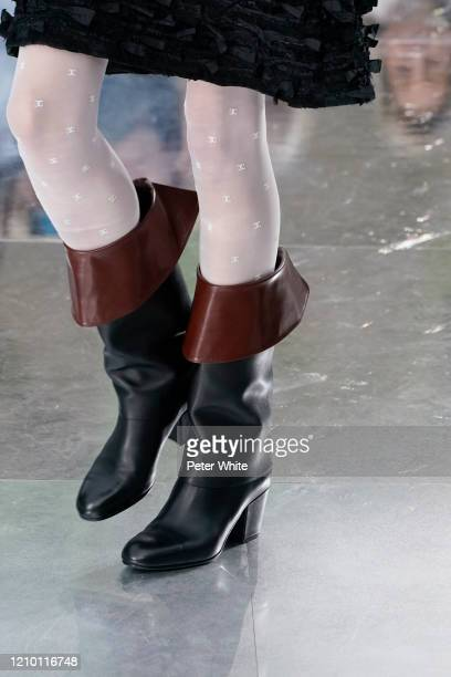 Model, shoe detail, walks the runway during the Chanel as part of the Paris Fashion Week Womenswear Fall/Winter 2020/2021 on March 03, 2020 in Paris,...