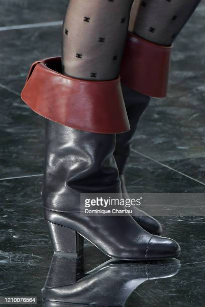 Model, shoe detail, walks the runway during the Chanel show as part of the Paris Fashion Week Womenswear Fall/Winter 2020/2021 on March 03, 2020 in...