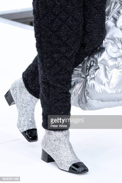A model shoe detail walks the runway during the Chanel show as part of the Paris Fashion Week Womenswear Fall/Winter 2017/2018 on March 7 2017 in...