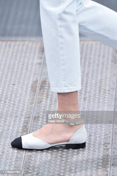 Model, shoe detail, walks the runway during the Chanel Womenswear Spring/Summer 2020 show as part of Paris Fashion Week on October 01, 2019 in Paris,...