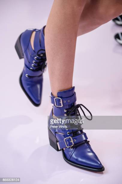 A model shoe detail walks the runway during the Chloe show as part of the Paris Fashion Week Womenswear Spring/Summer 2018 on September 28 2017 in...