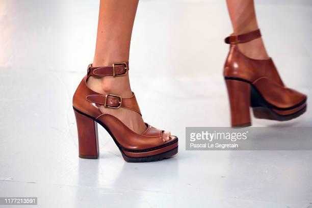 Model, shoe detail walks the runway during the Chloe Womenswear Spring/Summer 2020 show as part of Paris Fashion Week on September 26, 2019 in Paris,...