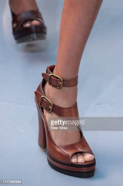 Model, shoe detail, walks the runway during the Chloe Womenswear Spring/Summer 2020 show as part of Paris Fashion Week on September 26, 2019 in...