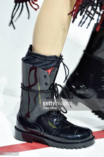 A model shoe detail walks the runway during the Christian Dior show as part of the Paris Fashion Week Womenswear Fall/Winter 2019/2020 on February 26...