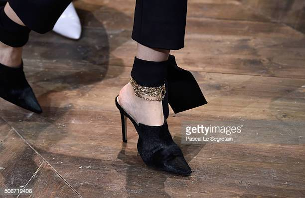 A model shoe detail walks the runway during the Christian Dior Spring Summer 2016 show as part of Paris Fashion Week on January 25 2016 in Paris...