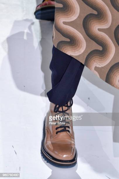 A model shoe detail walks the runway during the Dries Van Noten Menswear Spring/Summer 2019 show as part of Paris Fashion Week on June 21 2018 in...