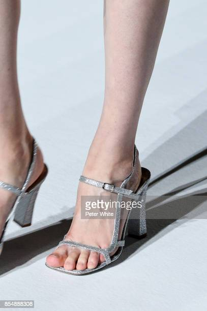 A model shoe detail walks the runway during the Dries Van Noten show as part of the Paris Fashion Week Womenswear Spring/Summer 2018 on September 27...