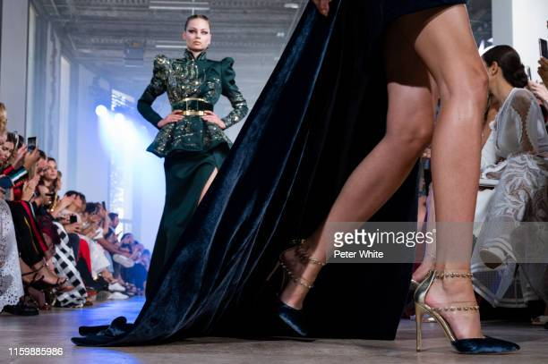 Model, shoe detail, walks the runway during the Elie Saab Haute Couture Fall/Winter 2019 2020 show as part of Paris Fashion Week on July 03, 2019 in...