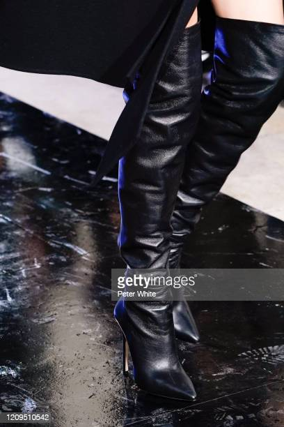 Model, shoe detail, walks the runway during the Elie Saab show as part of the Paris Fashion Week Womenswear Fall/Winter 2020/2021 on February 29,...