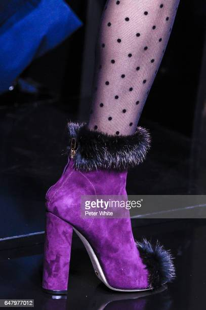 A model shoe detail walks the runway during the Elie Saab show as part of the Paris Fashion Week Womenswear Fall/Winter 2017/2018 on March 4 2017 in...