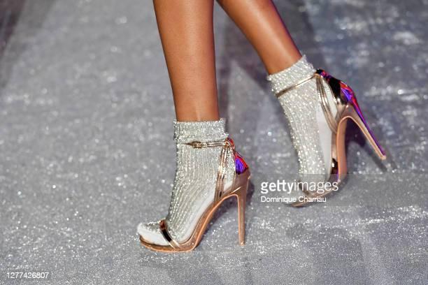 Model, shoe detail, walks the runway during the Etam Womenswear Spring/Summer 2021 show as part of Paris Fashion Week on September 29, 2020 in Paris,...