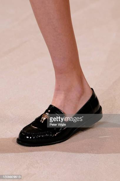 Model, shoe detail, walks the runway during the Giambattista Valli as part of the Paris Fashion Week Womenswear Fall/Winter 2020/2021 on March 02,...