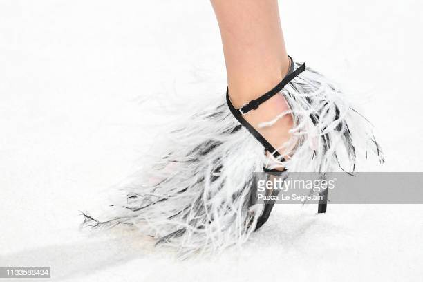 Model, shoe detail, walks the runway during the Giambattista Valli show as part of the Paris Fashion Week Womenswear Fall/Winter 2019/2020 on March...