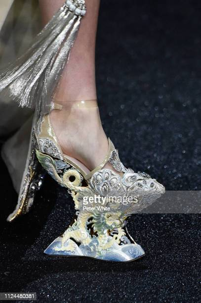 A model shoe detail walks the runway during the Guo Pei Spring Summer 2019 show as part of Paris Fashion Week on January 23 2019 in Paris France