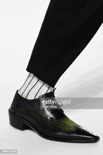 A model shoe detail walks the runway during the Haider Ackermann Menswear Spring/Summer 2018 show as part of Paris Fashion Week on June 21 2017 in...