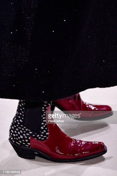 A model shoe detail walks the runway during the Haider Ackermann show as part of the Paris Fashion Week Womenswear Fall/Winter 2019/2020 on March 02...