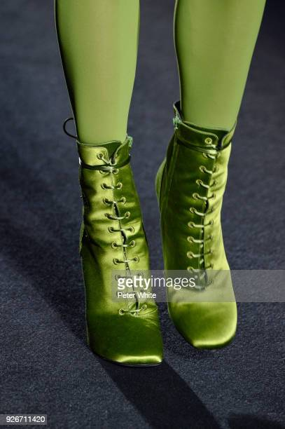 A model shoe detail walks the runway during the Haider Ackermann show as part of the Paris Fashion Week Womenswear Fall/Winter 2018/2019 on March 3...