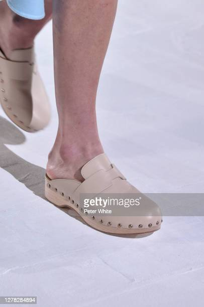 Model, shoe detail, walks the runway during the Hermes Womenswear Spring/Summer 2021 show as part of Paris Fashion Week on October 03, 2020 in Paris,...