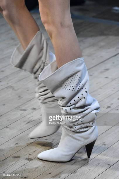 A model shoe detail walks the runway during the Isabel Marant show as part of the Paris Fashion Week Womenswear Spring/Summer 2019 on September 27...