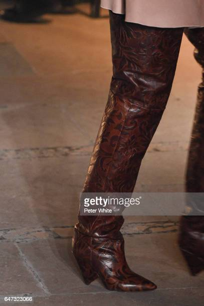A model shoe detail walks the runway during the Isabel Marant show as part of the Paris Fashion Week Womenswear Fall/Winter 2017/2018 on March 2 2017...