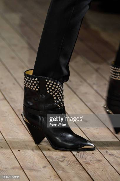 Model, shoe detail, walks the runway during the Isabel Marant show as part of the Paris Fashion Week Womenswear Fall/Winter 2018/2019 on March 1,...