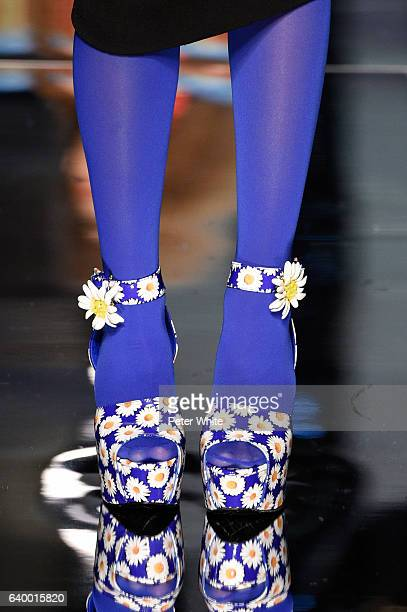 A model shoe detail walks the runway during the Jean Paul Gaultier Spring Summer 2017 show as part of Paris Fashion Week on January 25 2017 in Paris...