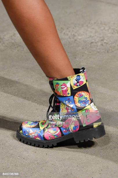 A model shoe detail walks the runway during the Jeremy Scott fashion show during New York Fashion Week on September 8 2017 in New York City