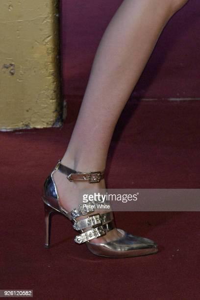 Model, shoe detail, walks the runway during the Koche show as part of the Paris Fashion Week Womenswear Fall/Winter 2018/2019 on February 27, 2018 in...