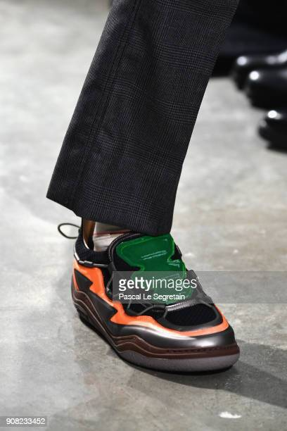 A model shoe detail walks the runway during the Lanvin Menswear Fall/Winter 20182019 show as part of Paris Fashion Week on January 21 2018 in Paris...