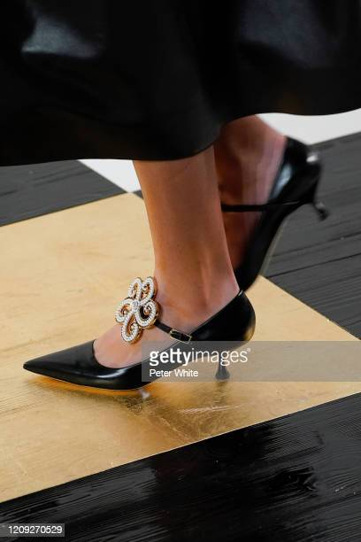 Model, shoe detail, walks the runway during the Loewe show as part of the Paris Fashion Week Womenswear Fall/Winter 2020/2021 on February 28, 2020 in...