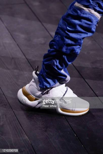 Model, shoe detail, walks the runway during the Louis Vuitton as part of the Paris Fashion Week Womenswear Fall/Winter 2020/2021 on March 03, 2020 in...