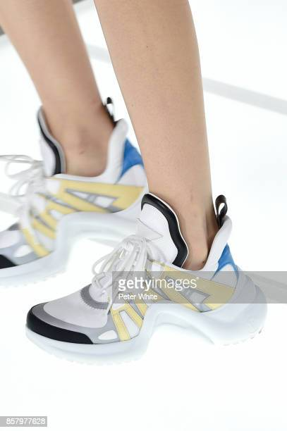 A model shoe detail walks the runway during the Louis Vuitton Paris show as part of the Paris Fashion Week Womenswear Spring/Summer 2018 on October 3...