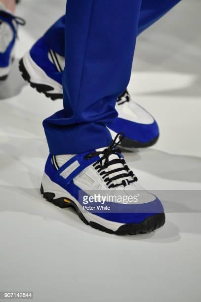 A model shoe detail walks the runway during the Maison Margiela Menswear Fall/Winter 20182019 show as part of Paris Fashion Week on January 19 2018...