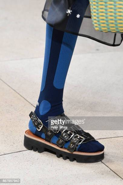 A model shoe detail walks the runway during the Miu Miu Paris show as part of the Paris Fashion Week Womenswear Spring/Summer 2018 on October 3 2017...