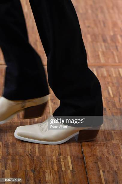 Model, shoe detail, walks the runway during the Off-White Menswear Fall/Winter 2020-2021 show as part of Paris Fashion Week on January 15, 2020 in...