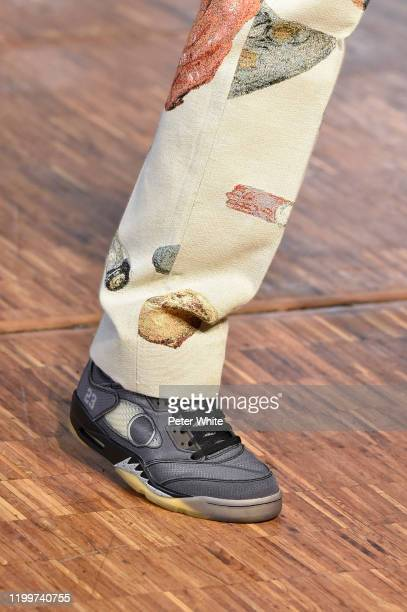 A model shoe detail walks the runway during the OffWhite Menswear Fall/Winter 20202021 show as part of Paris Fashion Week on January 15 2020 in Paris...