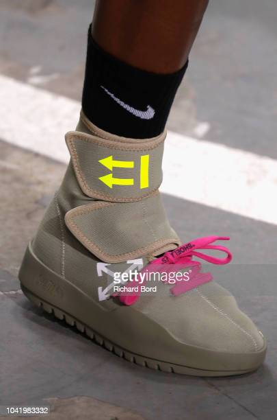 A model shoe detail walks the runway during the OffWhite show as part of the Paris Fashion Week Womenswear Spring/Summer 2019 on September 27 2018 in...