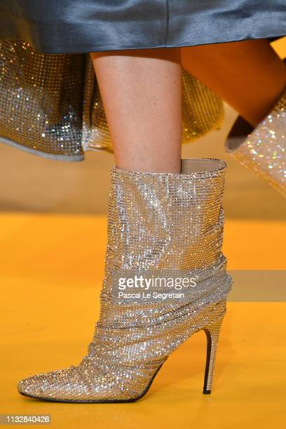 Model, shoe detail, walks the runway during the Off-White show as part of the Paris Fashion Week Womenswear Fall/Winter 2019/2020 on February 28,...