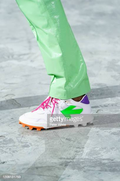 Model, shoe detail, walks the runway during the Off-White show as part of the Paris Fashion Week Womenswear Fall/Winter 2020/2021 on February 27,...