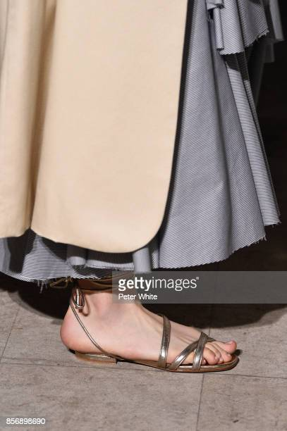 Model, shoe detail, walks the runway during the Pascal Millet show as part of the Paris Fashion Week Womenswear Spring/Summer 2018 on September 28,...
