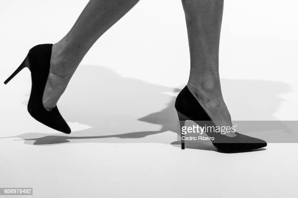 A model shoe detail walks the runway during the Royaled by RH presentation at Fashion Forward March 2017 held at the Dubai Design District on March...
