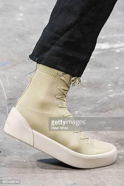 A model shoe detail walks the runway during the Sankuanz Menswear Fall/Winter 20172018 show as part of Paris Fashion Week on January 22 2017 in Paris...