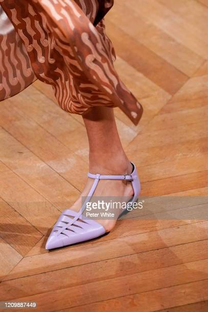 Model, shoe detail, walks the runway during the Stella McCartney as part of the Paris Fashion Week Womenswear Fall/Winter 2020/2021 on March 02, 2020...