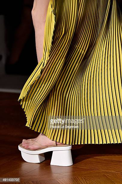 A model shoe detail walks the runway during the Stella McCartney show as part of the Paris Fashion Week Womenswear Spring/Summer 2016 on October 5...